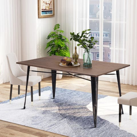 Distressed Black Rectangular Dining Table with Metal Legs
