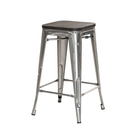 Rustic Metal Bar Stools with Wooden Tops (26in)(Set of 4)
