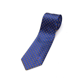 Versace Men's Medusa Logo Checkered Pattern Silk Neck Tie