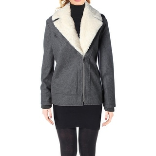 French Connection Womens Moto Coat Faux Sherpa Wool