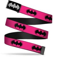 Batman Reverse Brushed Silver Cam Bat Signal 3 Fuchsia Black Fuchsia Web Belt