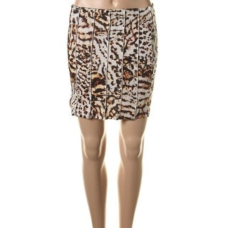 Zara W&B Collection Womens Animal Print Above Knee A-Line Skirt - L