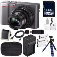 Panasonic LUMIX 4K DMC-ZS100 Digital Compact Camera (Silver) + 32GB SDHC Card + Replacement Lithium Ion Battery + Charger Bundle