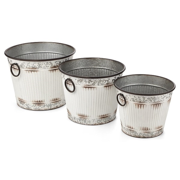 "Set of 3 White and Gray Antique-Style Galvanized Buckets 19"" - N/A"