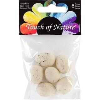 "Beige W/Brown Speckles - Plastic Bird Eggs 1"" 6/Pkg"