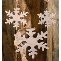 3/Set, Wooden Snowflakes