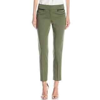 Nine West NEW Green Women's Size 16 Zip-Pocket Slim Leg Dress Pants P