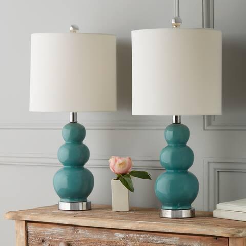 Abbyson Camden Gourd Turkish Blue 20 Inch Table Lamp (Set of 2)