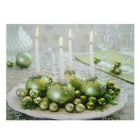 "LED Lighted Sparkling Ornament Centerpiece Christmas Canvas Wall Art 11.75"" x 15.75"""