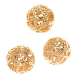 22K Gold Plated Delicate Filigree 6mm Round Beads (10)