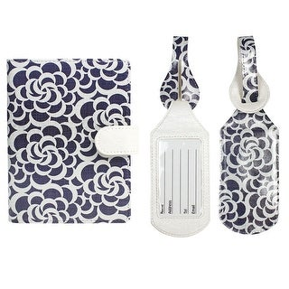 JAVOedge Travel Set: Blue Circle Print RFID Blocking Passport Case with Pen Holder + 2 Matching Luggage Tags - blue cotton