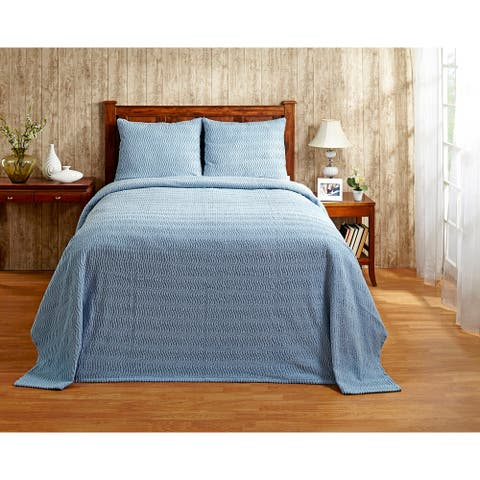 Better Trends Natick in Wavy Channel Stripes Design 100% Cotton Tufted Bedspreads & Shams Machine Washable Tumble Dry