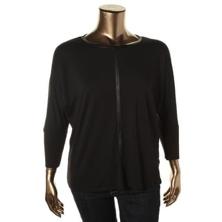 Two by Vince Camuto Womens Plus Faux Leather Trim Batwing Pullover Top - 2X