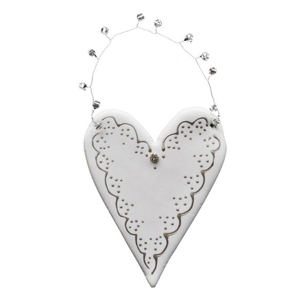 """Set of 4 Egyptian Hand Crafted Clay Heart with Dots Christmas Ornaments 6"""" - WHITE"""