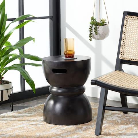 "SAFAVIEH Haruki Indoor/ Outdoor Modern Black Concrete Round Accent Table - 13.7"" W x 13.7"" L x 17.7"" H"