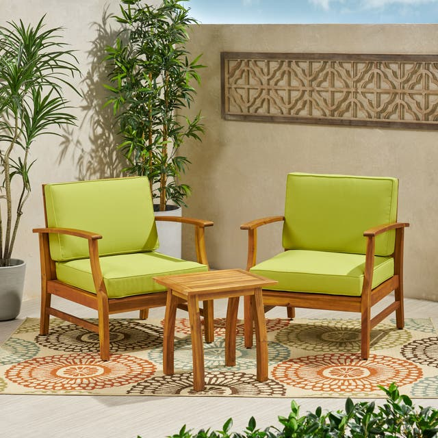 Perla Outdoor Acacia Wood 3-piece Outdoor Seating Set by Christopher Knight Home - Green