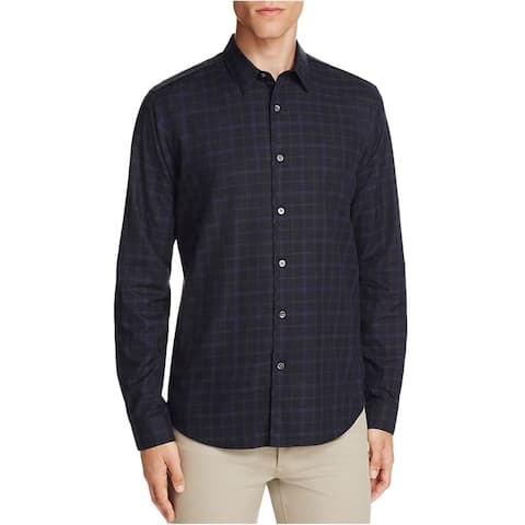 Theory Mens Checked Sport Button Up Shirt, Black, X-Large