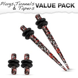 Red & Black Splatter IP 316L Steel Plug & Taper with O-Ring Set Value Pack