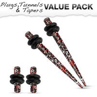 Red & Black Splatter IP 316L Steel Plug & Taper with O-Ring Set Value Pack