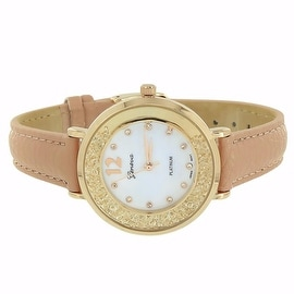 Womens Watch Pink Leather Band Gold Finish Analog Display Floating Stones Stainless Steel Back