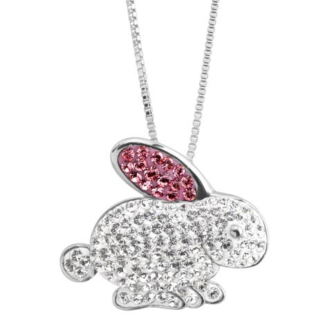 Crystaluxe Bunny Rabbit Pendant with Swarovski Crystals in Sterling Silver - White