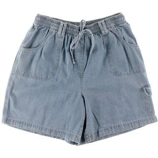 Karen Scott Womens Petites Cargo Shorts Chambray Comfort Waist
