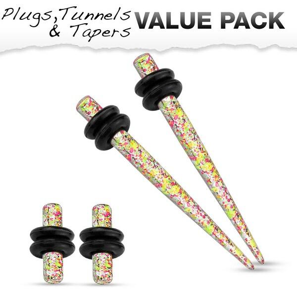 Orange & Yellow Splatter IP Steel Plug & Taper with O-Ring Set Value Pack