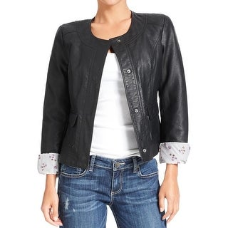 Kut From The Kloth Womens Cropped Jacket Faux Leather Long Sleeves