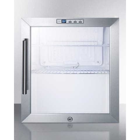 "Summit SCR215L 17"" Wide 1.7 Cu. Ft. Commercial Compact Refrigerator with Stainless Steel Trimmed Glass Door - Stainless Steel"
