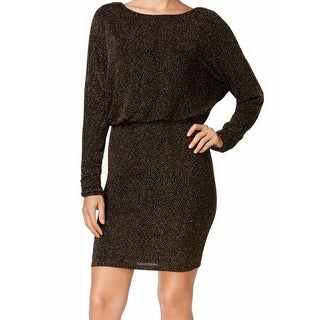 Jessica Howard NEW Black Women's Size 14 Gold Glitter Blouson Dress