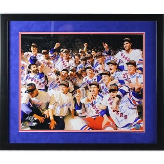 1994 New York Rangers Team and Framed Celebration 16x20 Photo 17 Sigs Flat Black Frame w Blue over