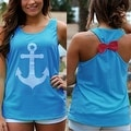 Anchor Print Womens Summer Casual Sleeveless Blouse Tank Tops T-Shirt Tee - Thumbnail 6
