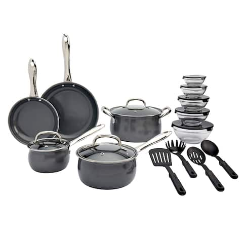 Table Tops Gallery 22Pc Carbon Steel Cookware Set Graphite