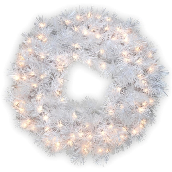 "30"" Pre-Lit Wispy Willow White with Silver Glitter Artificial Christmas Wreath - White Lights"