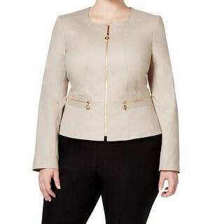 Calvin Klein NEW Beige Women's Size 22W Plus Full-Zipped Jacket
