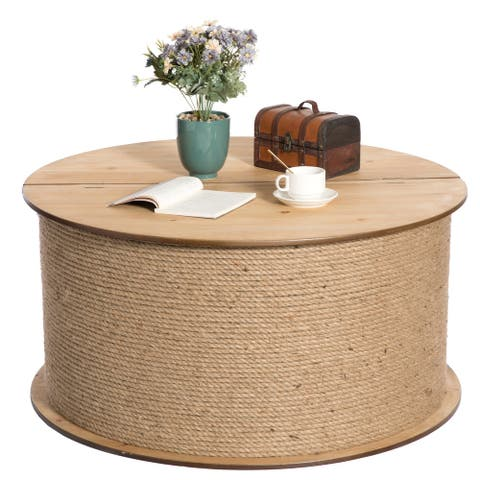 Decorative Round Spool Shaped Wooden Coffee Table