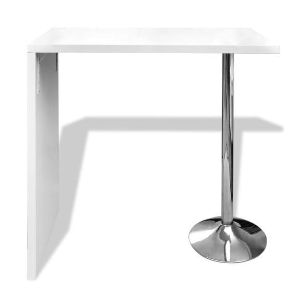 vidaXL Bar Table MDF with 2 Steel Legs High Gloss White Kitchen Furniture
