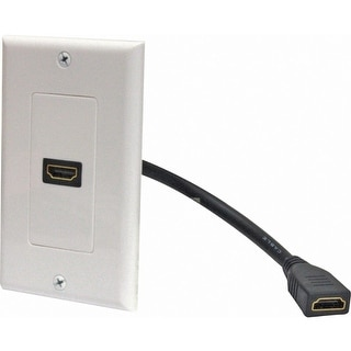 Steren Electronics 526-101WH Steren 1 Socket HDMI Pigtail Faceplate - White - 1 x HDMI Port(s)