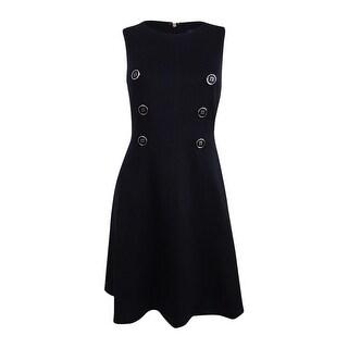 Tommy Hilfiger Women's Button-Front A-Line Scuba Dress - Black