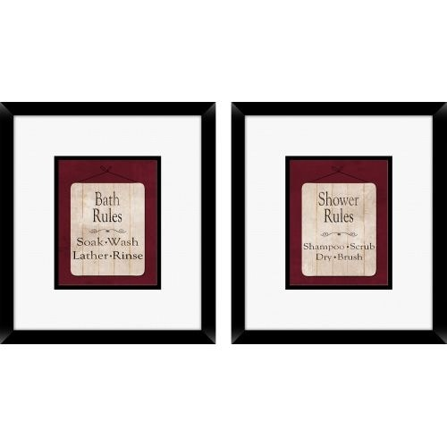 PTM Images 1-16214 Bathroom Rules Wall Art (Set of 2) - N/A