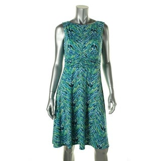 Jessica Howard Womens Petites Ruched Printed Wear to Work Dress - 14P