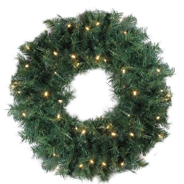 "24"" Pre-Lit Green Cedar Pine Artificial Christmas Wreath - Clear Lights"