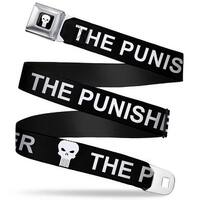 Marvel Universe Punisher Logo3 Full Color Black White The Punisher W Logo Seatbelt Belt