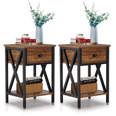 VECELO Set of 2 Nightstand 2 Layer 1 Drawer Bedside End Table Brown