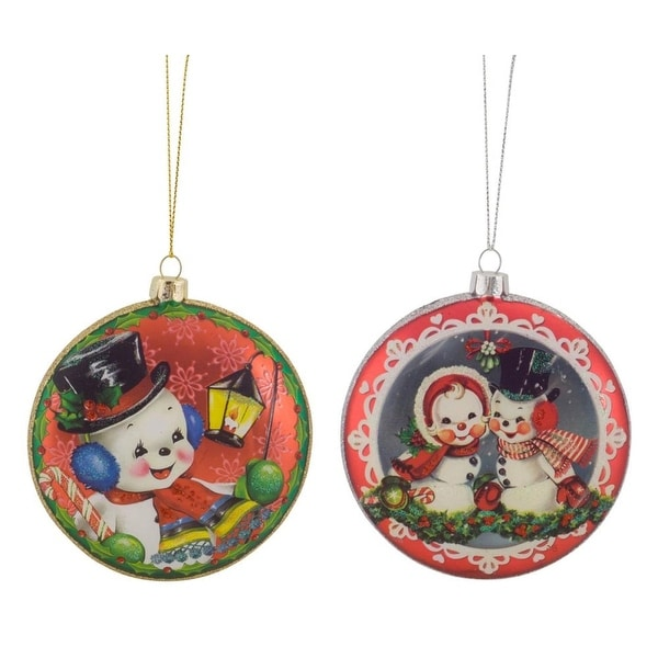 """Club Pack of 12 Vibrantly Colored Decorative Snowman Disc Ornaments 4"""" - WHITE"""