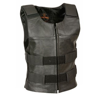 Womens Leather Zip Front Tactical Style Vest