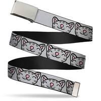 Blank Chrome Bo Buckle Soft Kitty Face Close Up Gray Webbing Web Belt