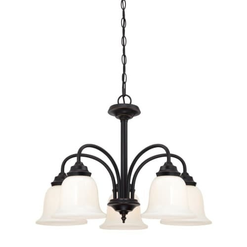 """Westinghouse 6304200 Harwell 5 Light 7"""" Wide Single Tier Shaded Chandelier with Glass Shades"""