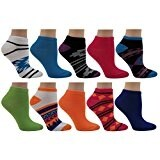 Women's 10 Pairs Colorful Patterned No-show Socks Size 9-11 (Assortment # 8)