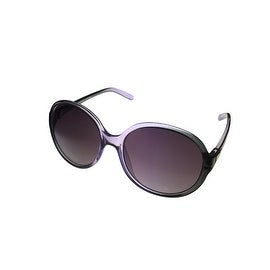Ellen Tracy Womens Sunglass 536 3 Lilac Fade Round Plastic, Solid Smoke Lens - Medium
